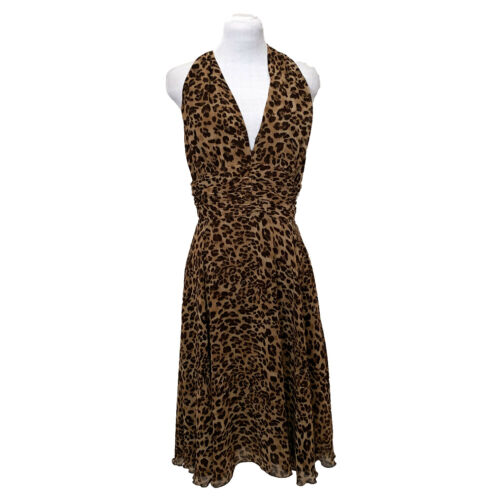 Victor Costa Halter Animal Print Dress, Size 10, R