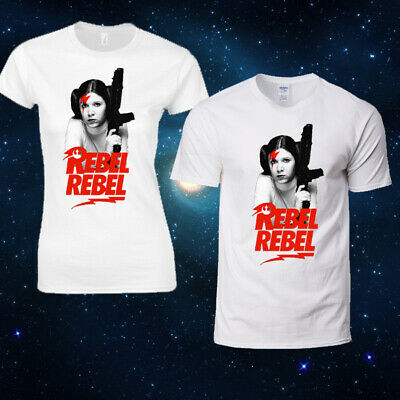 Princess Leia Rebel David Bowie Star Wars Force Men Women Top Retro Fancy Dress