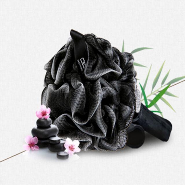 New Black Luxury Loofah Shower Pouf Bath Product Luffa Sponge Exfoliating Mesh