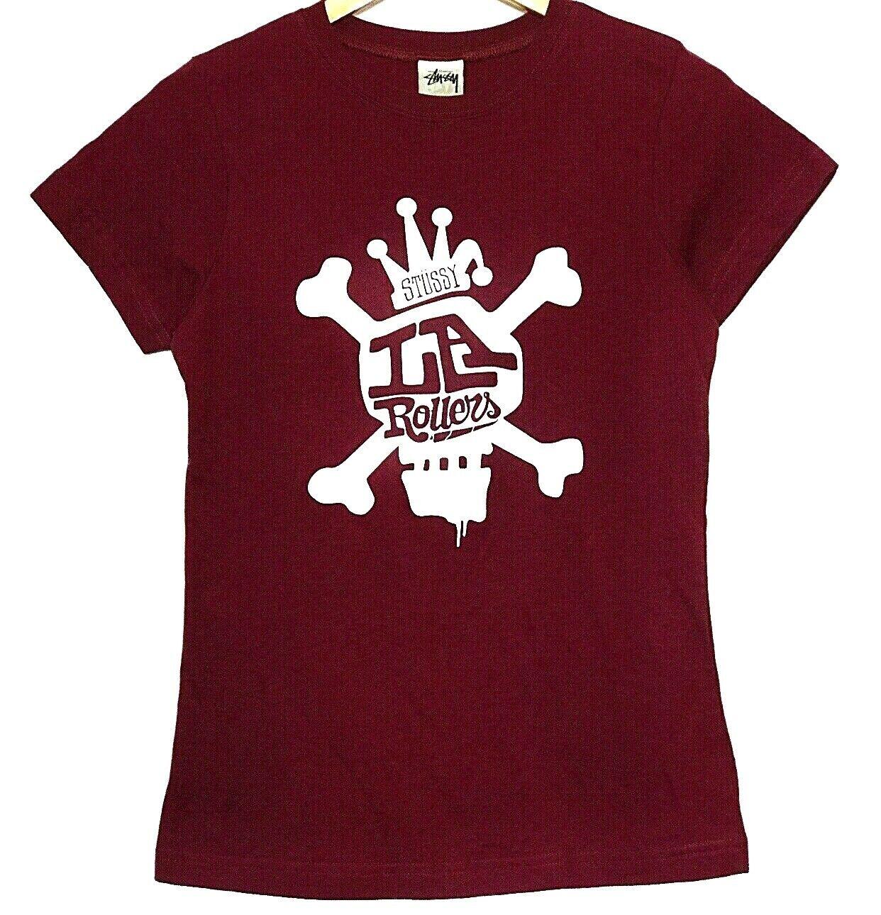 NEW Stussy Women T Shirt Medium LA Rollers Skull Crossbones Streetwear Burgundy