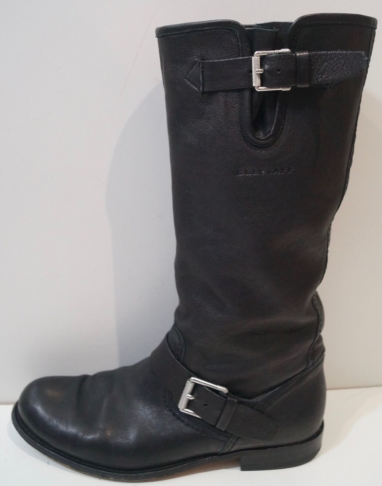 Belstaff made in italy italy italy noir argent à boucle mi-mollet hauteur bottes motard EU40 UK7 b635f6
