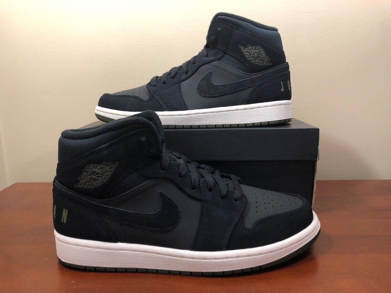 Nike Air Jordan 1 Mid Premium Black Olive Canvas Sail  BQ6579-001 Size 8.5