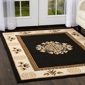 Oriental Black Area Rug 6 X 8 Persian Chinese Carpet 14 Actual 5