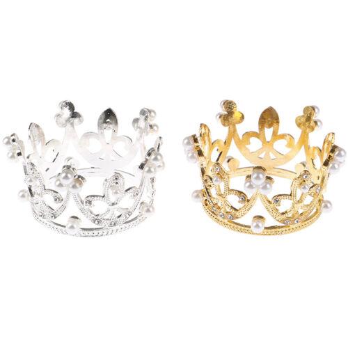 Mini Gold Crown Princess Topper Crystal Pearl Tiara Hair Valentine/'s Day Gif*CC