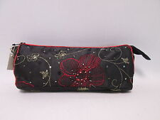 Black Beaded Cosmetic Makeup Bag Pencil Pen Brush Case Storage Pouch Purse #2F8