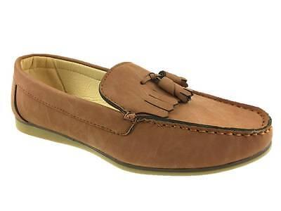 Para hombres Informal Sin Atar en imitación de cuero con Borlas Cubierta Zapato Mocasines Marrón Talla 6-11