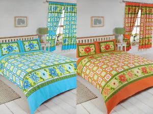 Details About Single Double King Super Size Citrus Azure Orange Blue Duvet Set Curtains