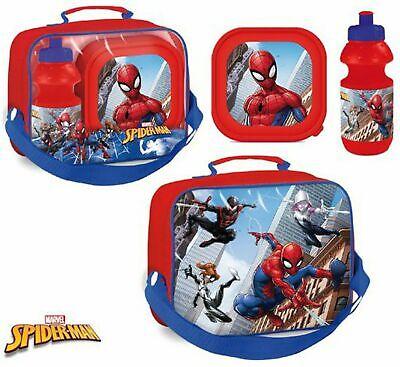 Spiderman Lunchset Picknickset Lunchbox Tasche Brotdose Trinkflasche 3 tlg.