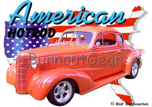 Details about 1938 Orange Chevy Coupe a Custom Hot Rod USA T-Shirt 38  Muscle Car Tees