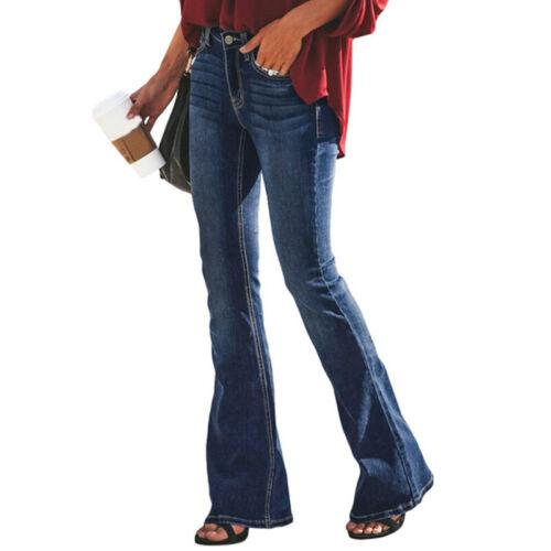 Frauen Skinny Flare Denim Stretch Jeanspants  Bell Bottom Hosen Slim Fit Hosen