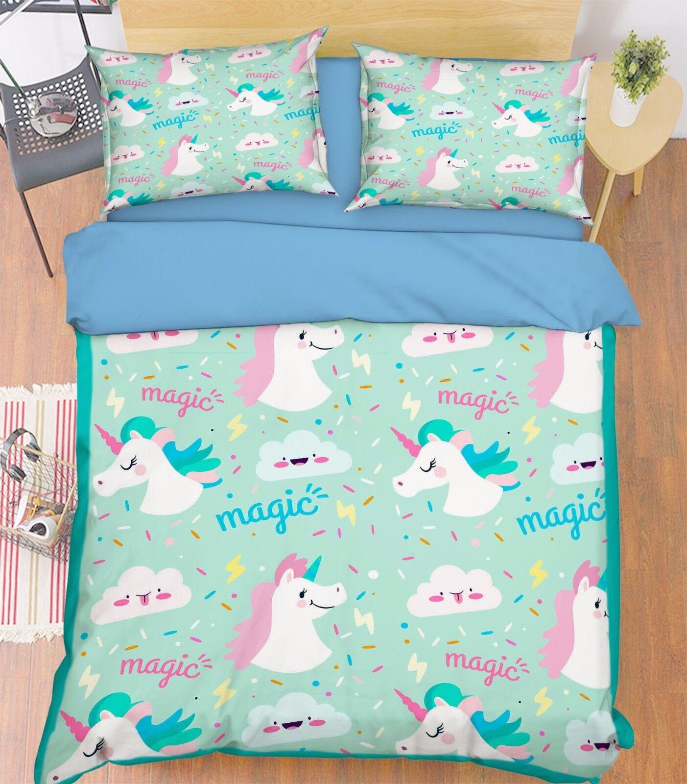 3D Unicorn Animal 907 Bed Pillowcases Quilt Duvet Cover Set Single Queen UK Kyra