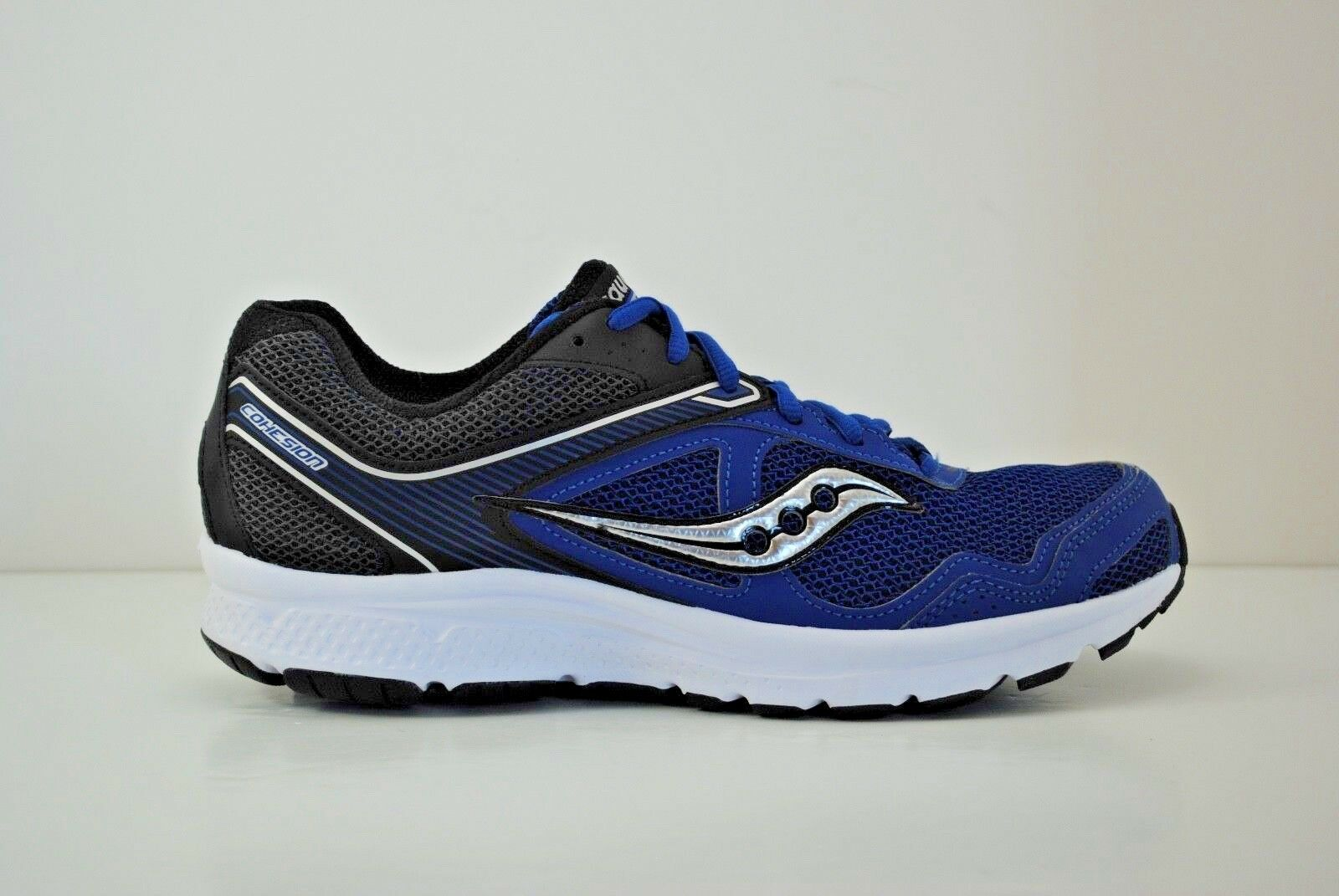 Mens Saucony Grid Cohesion 10 Running shoes Size 9.5 Black White bluee S25333-13