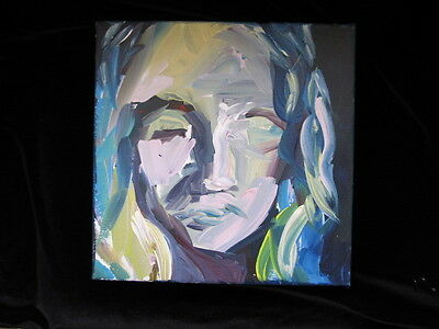 "ABSTRACT portrait PAINTING 12"" X 12"" X 1-1/2"" FINE ART signed TEAL PINK GREEN"
