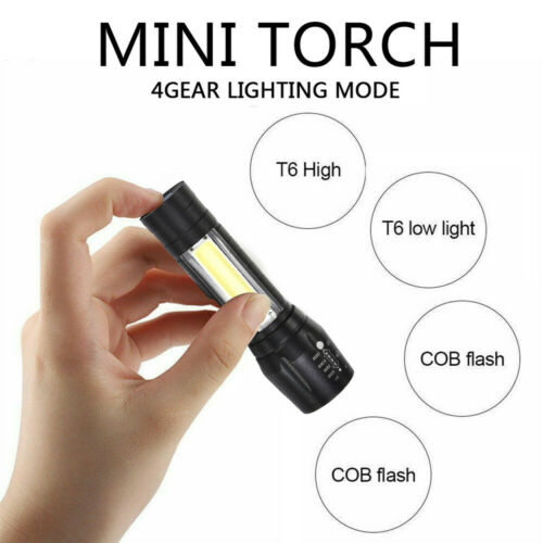 Portable T6 COB LED Tactical USB Rechargeable Zoomable Flashlight Torch Lamp JP