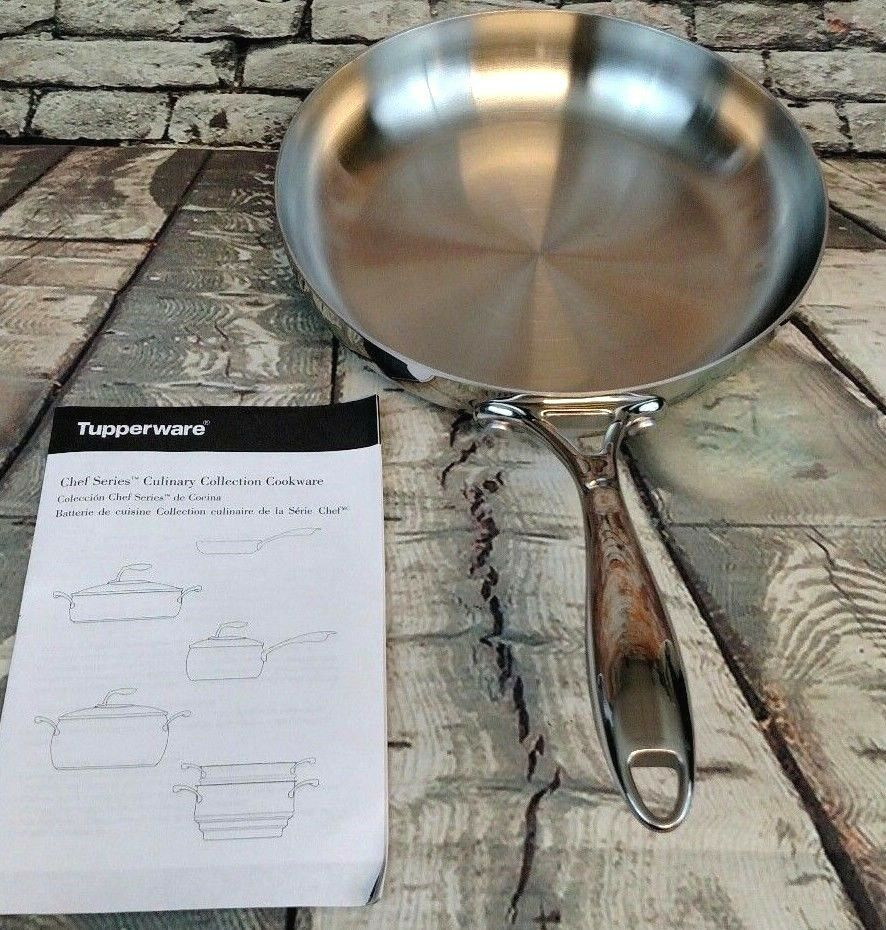 Tupperware Chef Series 9.5  Stainless Steel Open Frying Pan W  No Coating,No Lid