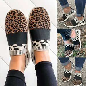 Womens-Comfy-Pumps-Shoes-Knitted-Leopard-Moccasins-Slip-On-Loafers-Flat-Sneakers