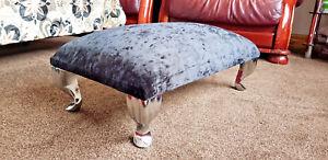 Foot-Rest-Pouffe-QueenAnne-Legs-British-Made-Black-Crushed-Glitz-Velvet