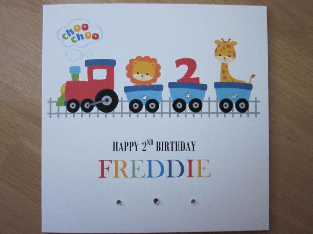 Personalised Handmade Boys Train 2nd Second Birthday Card Son
