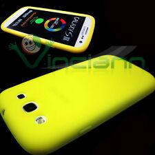 2x PELLICOLA+Custodia silicone GIALLO per Samsung Galaxy S3 i9300 S3 NEO i9301