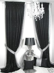 Vorhänge, 1 Strass Vorhang *Royal Strass*, schwarz, besonders edel