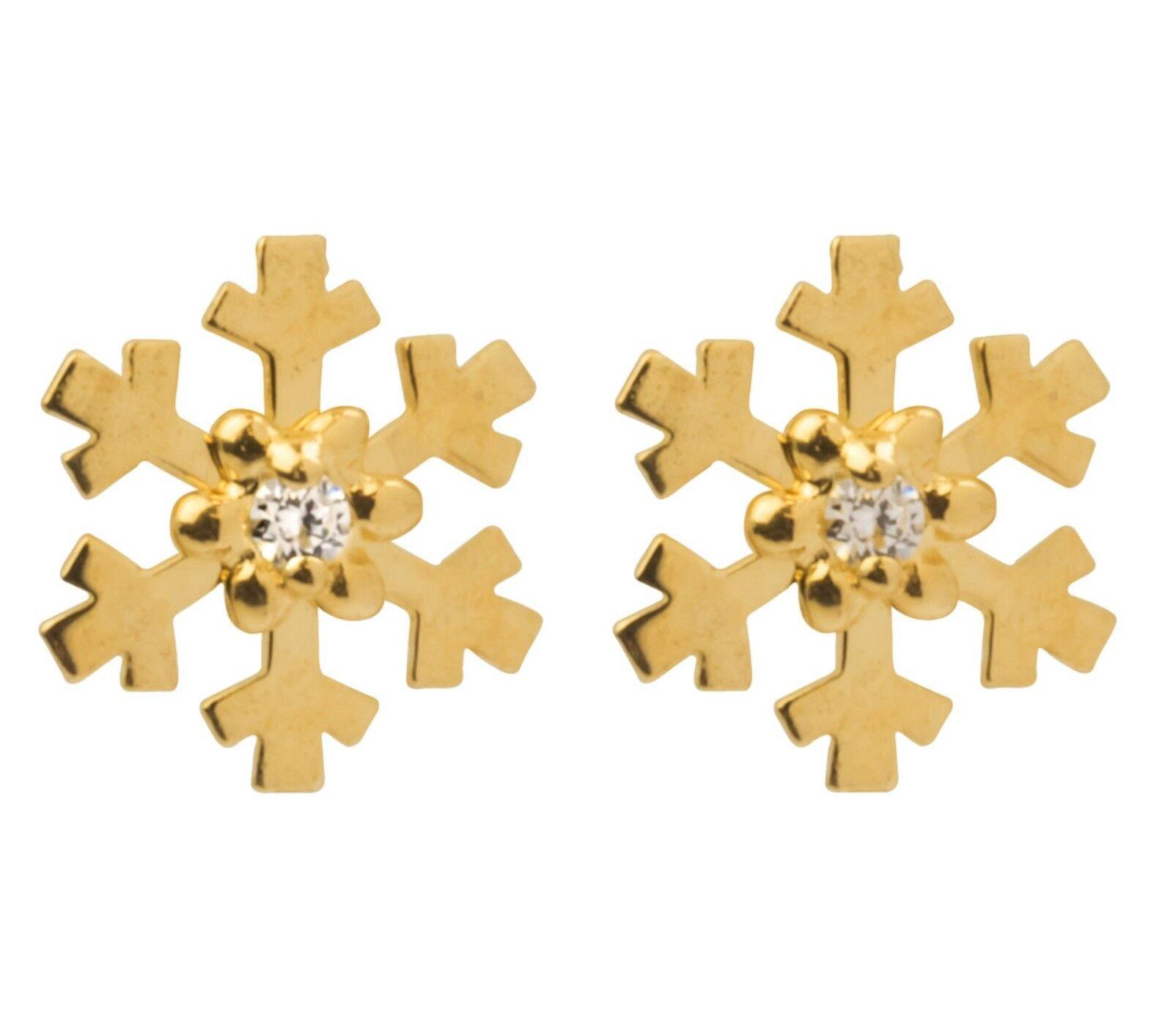 9ct Yellow gold Snowflake CZ Gem Set Ear Studs Earrings + gift bag
