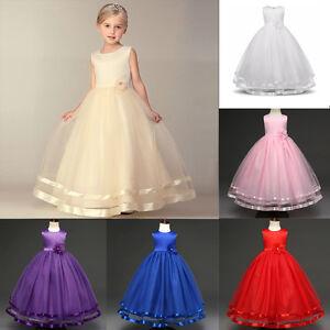 f6530244d99e2 Details about Flower Girl Dress Princess Elegant Wedding Birthday Party  Bridesmaid Ball Dress