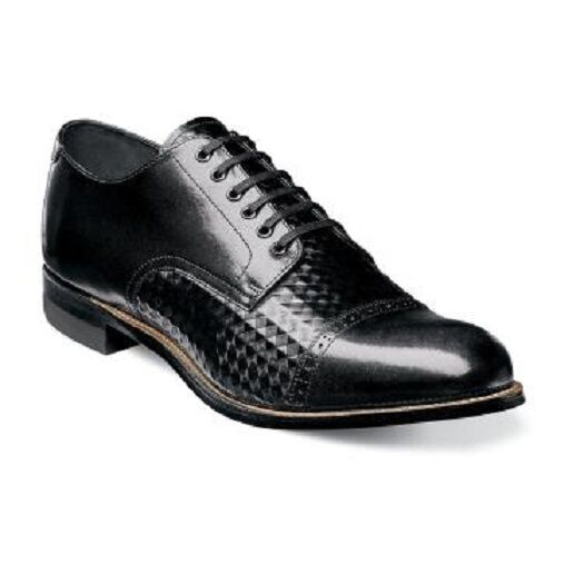 Stacy Adams Men's shoes Madison Cap Toe Diamond Print Leather Black  00082-001