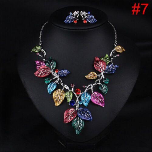 Halsketten-Ohrringe Eingestellt Eule Eagle Anhänger Kristall Blume Strass neu