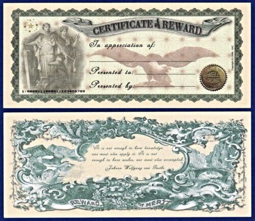 2 Certificate of Reward Dollar Bills Good Job Well done Collectible C2