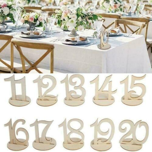 1-20 Wooden Table Numbers Set with Base Holder Birthday Wedding Table Party N1I9