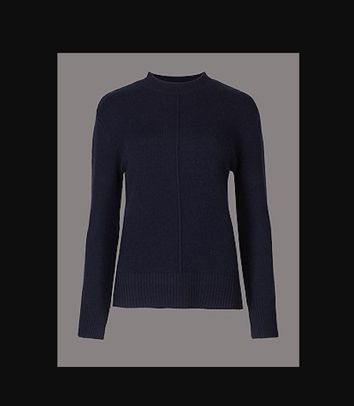 M&S AUTOGRAPH Pure Cashmere Split Cuff Turtle Neck Jumper 'NAVY' PRP