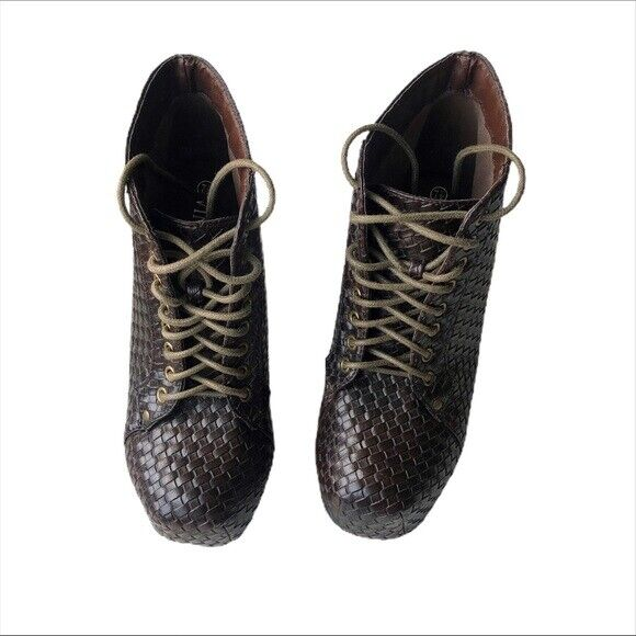 Vintage Brown Woven Lace up Heel Platform Boot 7.5 - image 5