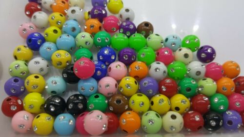 25g x 8mm Metal Enlaced Acrylic Plastic Round Beads A5386 Mixed
