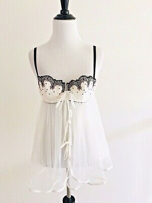 Victoria Secret Sexy Little Things Size 34b Bridal White Babydoll Lingerie Sheer To Be Distributed All Over The World Teddies