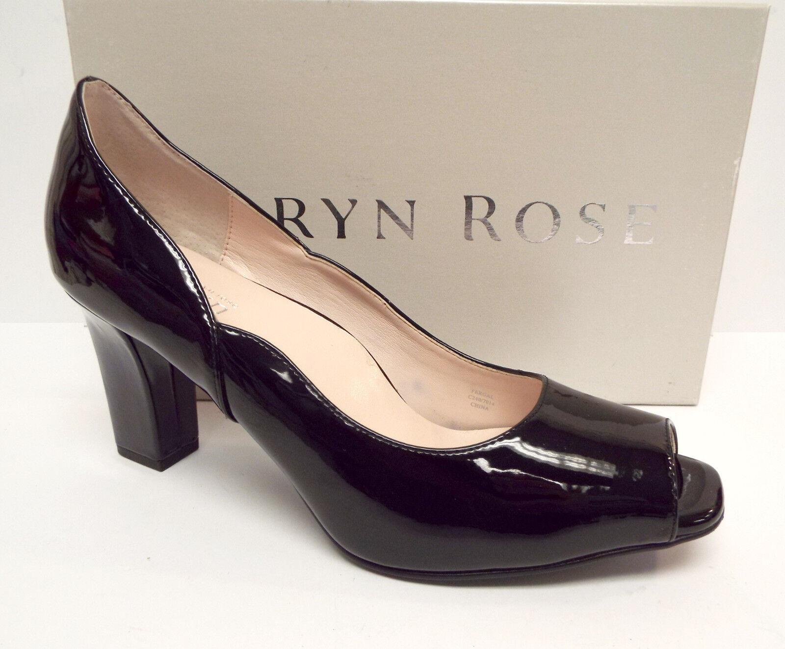 TARYN ROSE Size 9.5 FERGAL Black Patent Open Toe heels Pumps Shoes 9 1/2