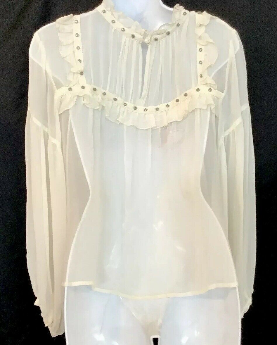 Flannel Silk Blouse Ivory Peasant Style Sheer Sil… - image 6