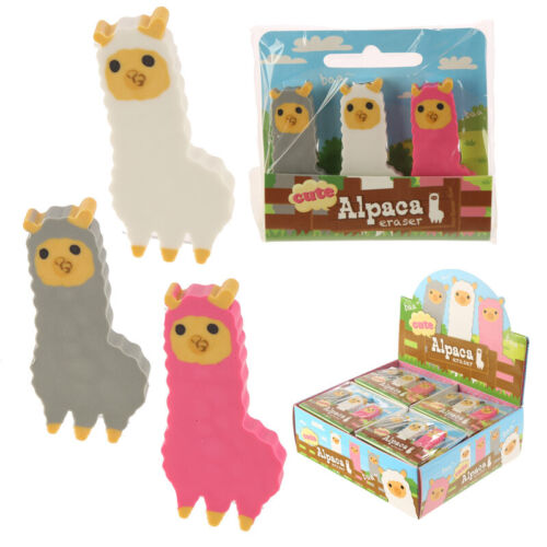 Collectable Novelty Design Set of 3 Erasers Cute Shark Sloth Alpaca Stationary