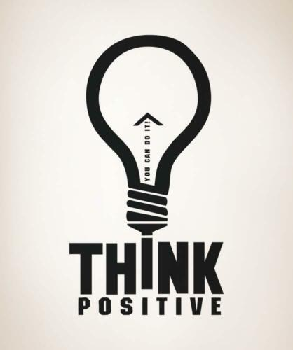Think Positive motivational inspiration Lightbulb decal sticker wall mural