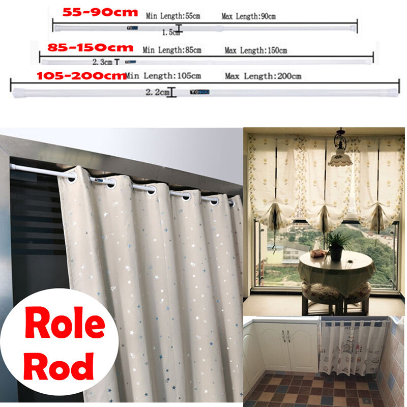 Extendable Telescopic White Curtain Pole Rod Rail Shower Window Spring Uk