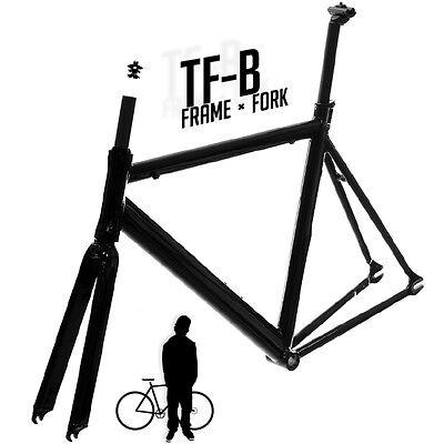 Track Fixie Road Bike Frame with Fork Black 53cm