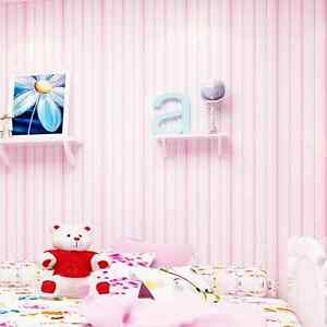 Image Is Loading Pink Stripe Wallpaper Kids Baby Room Blue
