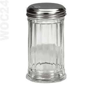 Zuckerstreuer-Zuckerspender-Zuckerdose-Zuckerdosierer-Glas-Metalldeckel-Streuer