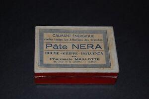 BOITE-PUBLICITAIRE-ANCIENNE-PHARMACEUTIQUE-EN-CARTON-PATE-NERA-Ph-MAILLOTE-DIJON