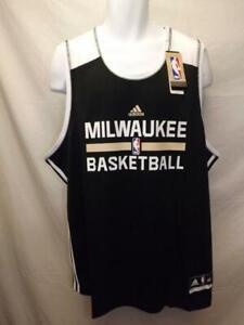 Nuevo-Milwaukee-Bucks-Practica-Camiseta-Hombres-Talla-2XL-Negro-Adidas-Camiseta