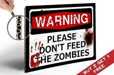 WARNING DO NOT FEED THE ZOMBIES A4 POSTER Horror Funny Gift Teen Room Door Sign