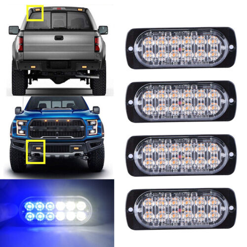 SUV White Blue LED Car Truck Emergency Beacon Warning Hazard Flash Strobe Light