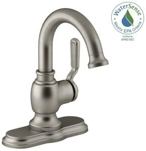 Details about KOHLER Bathroom Faucet in Vibrant Brushed Nickel Worth Single  Hole 1-Handle New