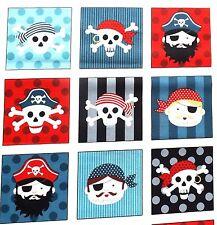 Pirates  Card Squares fabric 30cm x 112 Makower MK1675 100% Cotton 33 squares
