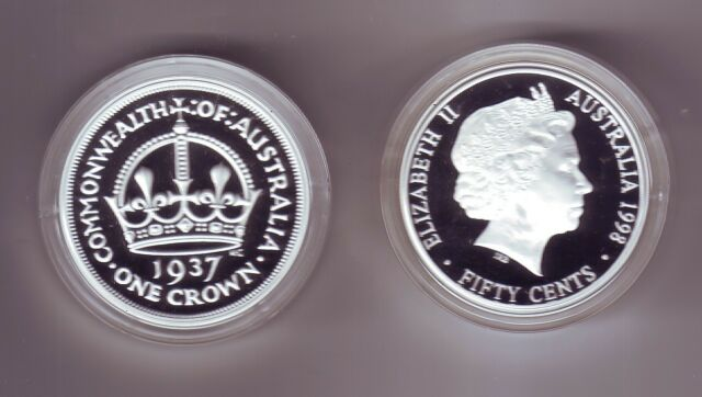 1998 SILVER Proof 50 cent of a 1937 Crown Coin ex Masterpieces in Set *