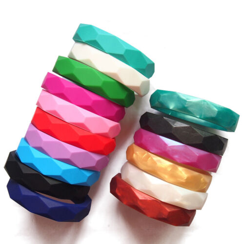 Lot Colors Silicone Baby Chew Teether Teething Jewelry Bangle Bracelets BPA Free